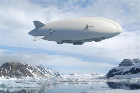 An artist's impression of what Lockheed Martin's hybrid air vehicle could look like once airborne