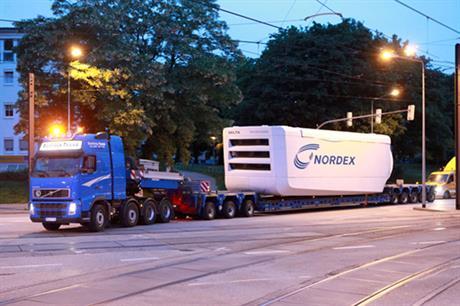 Nordex N100/3300 nacelle in transit