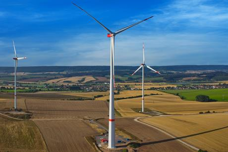 Nordex's 238.5-metre turbine in Thuringia features a 164-meter hybrid tower with an octagonal base