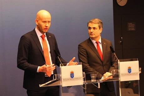 Norwegian energy minister Tord Lien, left, and his Swedish counterpart Ibrahim Baylan (Photo: HSI / MPE)