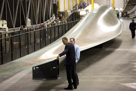 Former US president Barack Obama visiting the Fort Madison plant in 2010