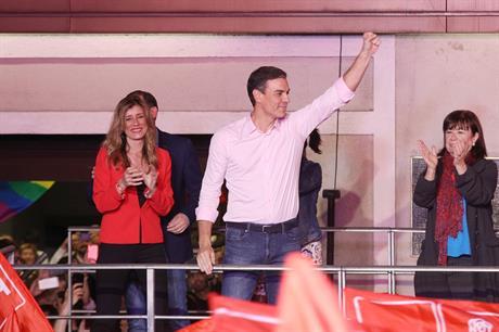Spanish prime minister Pedro Sanchez celebrates the election results (pic: Pedro Sanchez / Twitter)