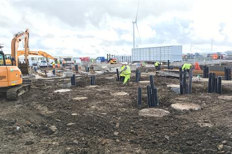 The battery storage facility under construction at Vattenfall's Pen y Cymoedd project in Wales