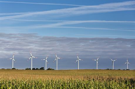 Eno Energy turbines at Plauerhagen wind farm in Mecklenburg-Vorpommern, Germany