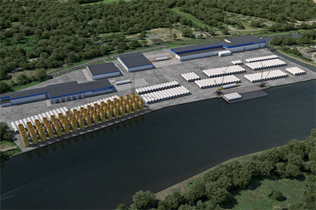 An artist's impression of the Equinor's planned tower factory in the Port of Albany (pic credit: Graph Synergie)