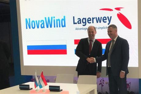 NovaWind CEO Alexander Korchagin and Lagerwey CEO Huib Morelisse signed the agreement at the WindEurope exhibition in Amsterdam (pic credit: Lagerwey)