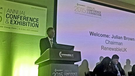 RenewableUK chairman Julian Brown makes the opening address at the annual conference