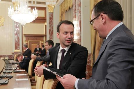 Wind developers have made their feelings known to Russia's deputy PM, Arkady Dvorkovich (centre)
