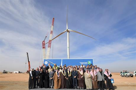 Saudi Aramco commissioned Saudi Arabia's first wind turbine (above) in 2019. The kingdom is due to add a further 1.2GW by the end of 2024