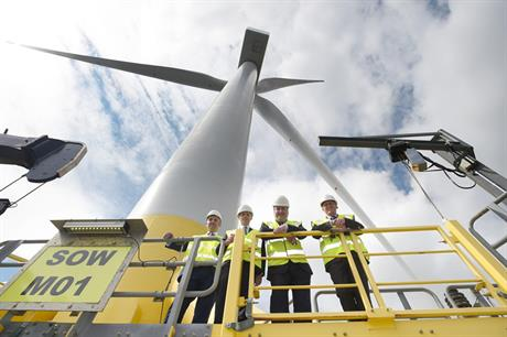 Scottish Energy Minister Paul Wheelhouse (third from the left) at the Levenmouth Demonstration Turbine (pic: ORE Catapult)