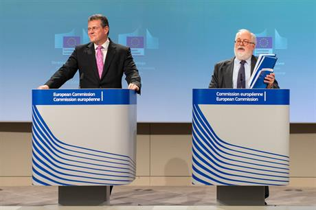 European Commission vice-president for the Energy Union, Maroš Šefčovič (left), and European commissioner for climate action and energy, Miguel Arias Cañete (pic: European Commission)