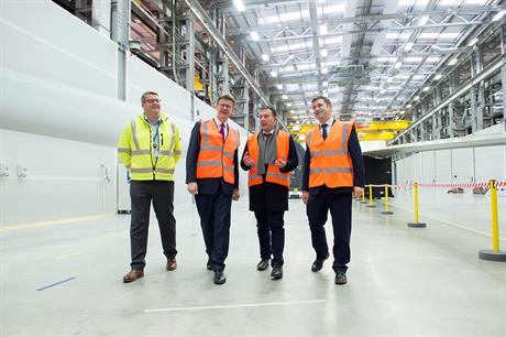 Left to right: Green Port Hull project director Finbarr Dowling, UK energy minister Greg Clark, Siemens offshore wind CEO Michael Hannibal and Siemens UK managing director Juergen Maier
