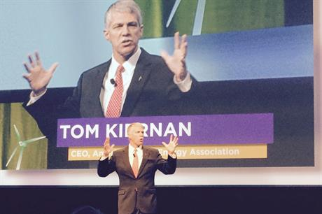 AWEA CEO Tom Kiernan addresses the opening session at Windpower 2016
