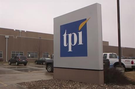 Outside TPI Composite's factory in Newton, Iowa, US
