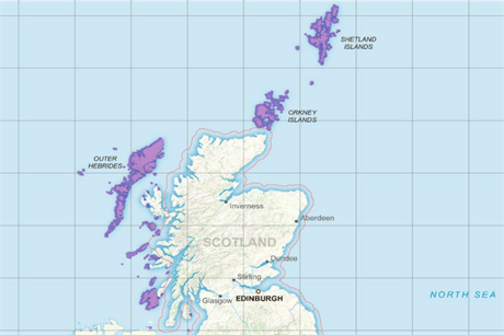 Projects on the island groups off Scotland (highlighted) are due to be included in the next CfD auction