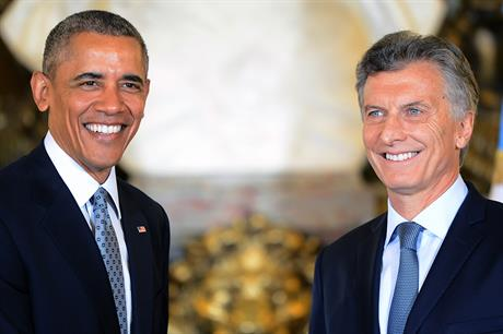 US president Barack Obama met with newly-elected Argentine president Mauricio Macri (right)