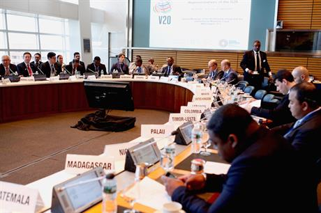 The meeting of the V20 in Washington DC in April (pic: Climate Vulnerable Forum)