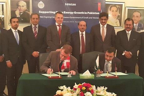 Vestas and the Sindh government signs the MoU in Karachi, Pakistan