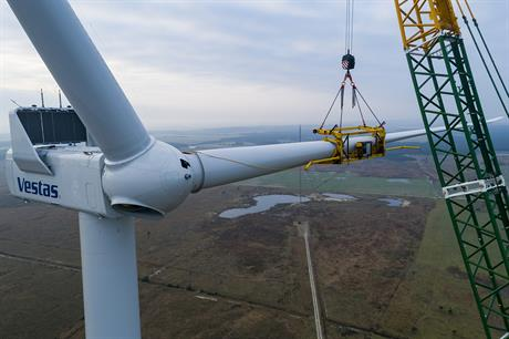 Vestas hopes the new technology could reduce the need for tag lines during blade lifts