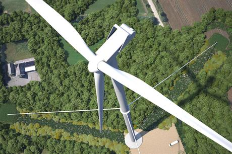 A computer generated image of Vestas' new tower design installed at Osterild