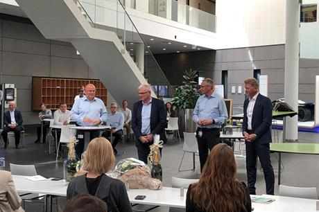 Left to right: Vestas CEO Henrik Andersen, chief scientific adviser Anders Vedel, COO Tommy Rahbek Nielsen, and new CTO Anders Nielsen