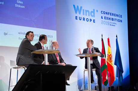 SGRE CEO Markus Tacke (second from left) said the investment for the energy transition is available, but projects need to show they are worth investing in (pic: WindEurope)