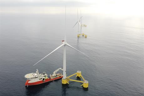 The third MHI Vestas V164-8.4 turbine is installed at the WindFloat Atlantic pilot project