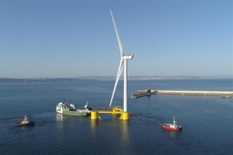 The third and final turbine sets sail for Principle Power's WindFloat Atlantic project off Portugal