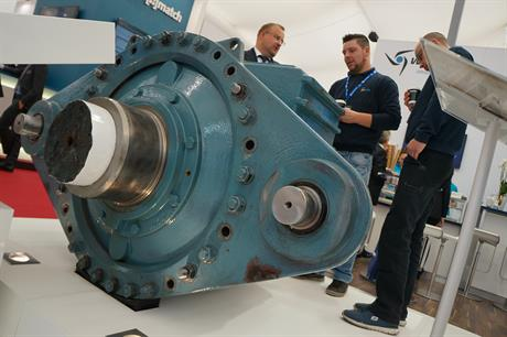 The 25-year old Winergy gearbox on display at Husum Wind 2017