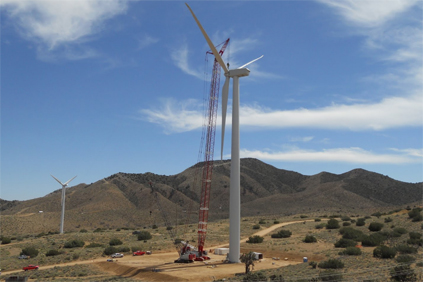 A Vestas V90 turbine being installed at the Alta Wind Energy Centre