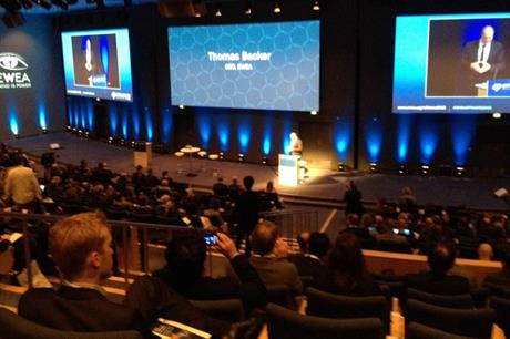 EWEA CEO Thomas Becker giving the opening address at EWEA Offshore 2015
