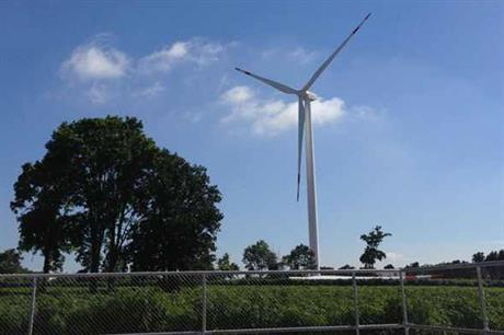 A Goldwind 2.5MW turbine at the Theppana wind farm