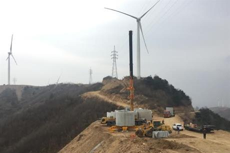 Concrete base of Goldwind hybrid tower being installed