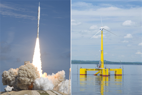 The Ares I-X prototype l and the University of Maine. Credit: NASA/Jplourde umaine/CC-by-4.0.