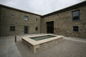The courtyard at Settle: a barn converted converted into retail premises, offices and a cafe