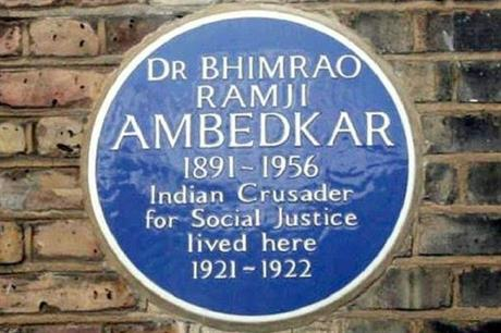 A blue plaque at the Camden property where Dr B R Ambedkar lived. Pic: Robert Jenrick, Twitter