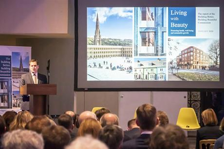 Housing secretary Robert Jenrick at the Building Beautiful Commission report launch last month. Pic: MHCLG