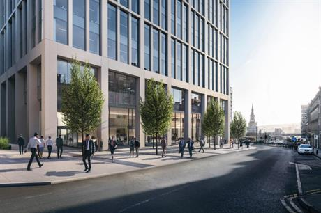 A CGI of plans for a 14-storey office building on Newcastle's Pilgrim Street. Image: Taras Properties