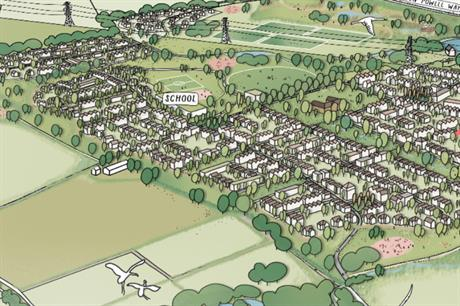 An artist's impression of plans for up to 1,500 homes near Biggleswade