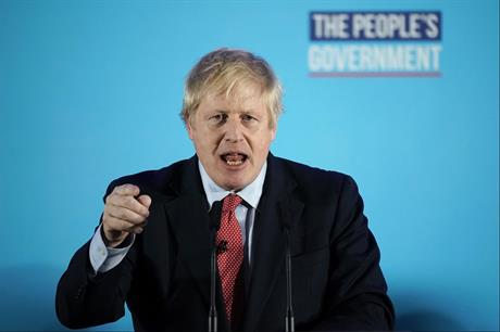 Prime minister Boris Johnson delivering his victory speech this morning. Pic: Getty Images