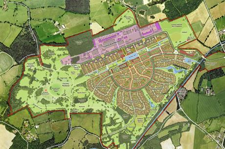 A visualisation of garden community plans for Dunsfold Aerodrome in Surrey