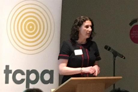 TCPA chief executive Fiona Howie speaking last night