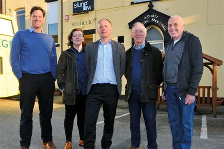 Left to right: Alan Lane, artistic director, Slung Low; Abbie Miladinovic, planner, and Ian Mackay, team leader, policy and plans, Leeds City Council; Tony Ray, Planning Aid volunteer; Dennis Kitchen, chair, Holbeck Neighbourhood Forum