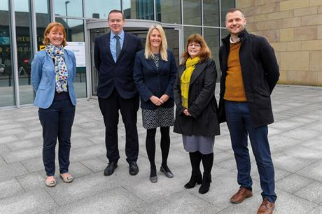 The Planning teams from Cumbria County Council and Carlisle City Council who have collaborated on the St Cuthbert's Garden Village and Carlisle Southern Development Route projects. (Left to right) Alison Hatcher, Michael Barry, Nicola Parker, Fiona K