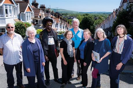 Consultation: Lewes Town Council clerk Steven Brigden (fourth from the right) explained policies to members of the local community while the steering group's Kirsten Firth (fourth from the left) helped to inform residents about ecosystems