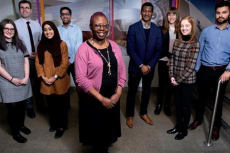 Graduates on the scheme with housing development officer Joy Anibaba (centre). Left to right: Eleanor Crook, James Carless, Sanya Imran, Osman Mohammed, Emmanuel Igenoza, Emma Bradley, Chloe Faulkner and Harjot Singh