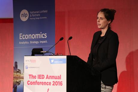 NLP associate director Lucie Bailey speaking at the IED Annual Conference