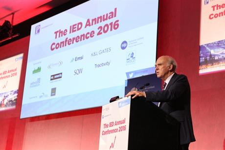 Former business secretary Vince Cable at the IED Annual Conference