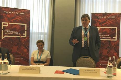 Housing minister Kit Malthouse at the Planning Futures fringe event yesterday