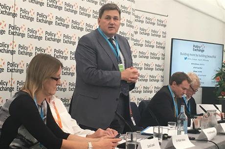 Housing minister Kit Malthouse speaking at the Policy Exchange conference fringe event yesterday